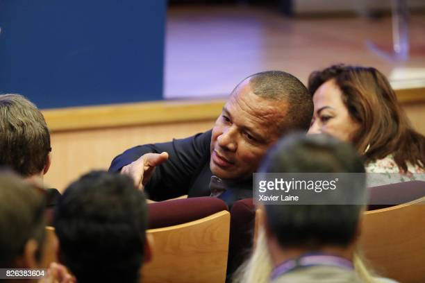 Father of Neymar Neymar da Silva Sr after the press conference at Parc des Princes on August 4 2017 in Paris France