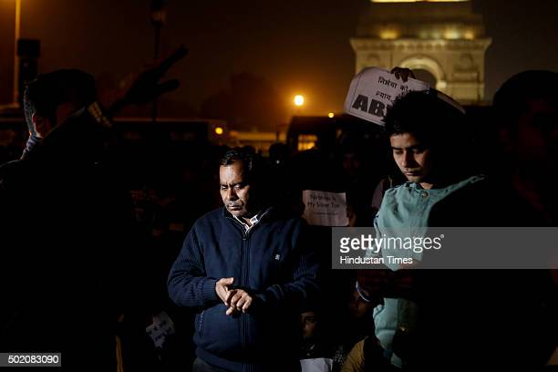 Father of Nirbhaya at Jantar Mantar during a protest against the release of juvenile convict of the 16 December gangrape along with student activists...