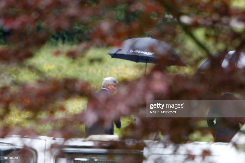 Father of Pippa Michael Middleton leaves a wedding rehearsal at St Mark's Church ahead of the Wedding of Pippa Middleton and James Matthews on May 19, 2017 in Englefield, Berkshire.