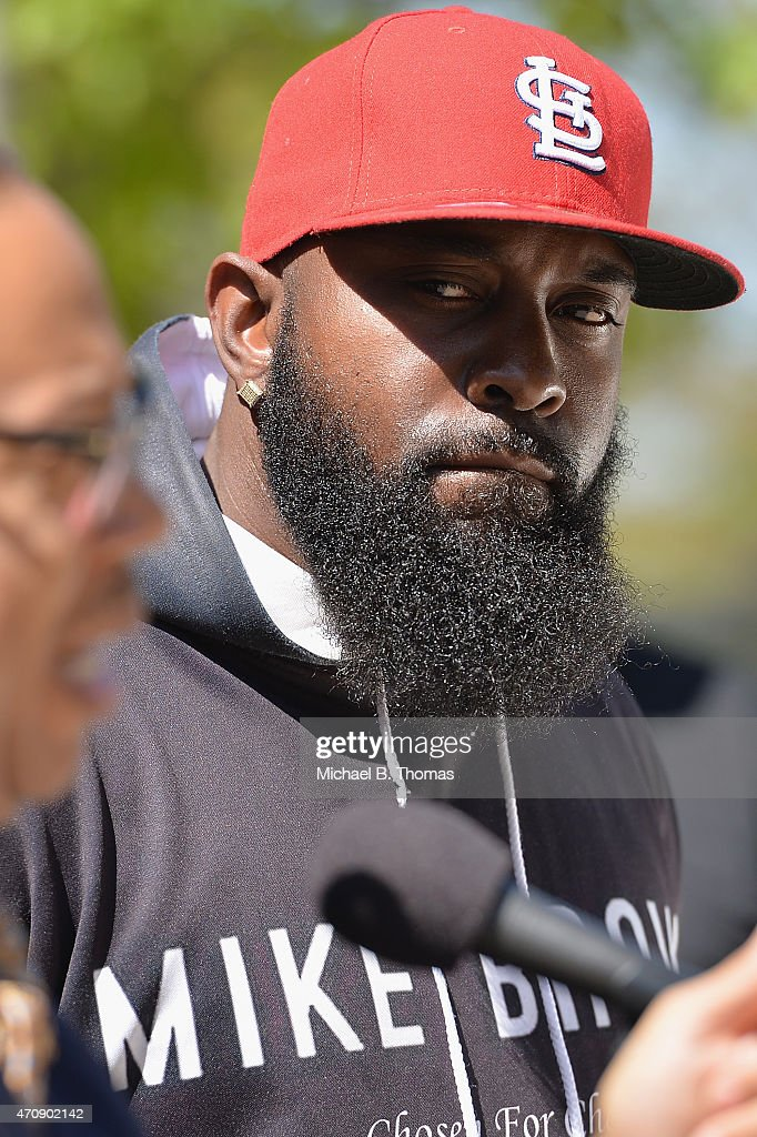Father of slain 18 year-old Michael Brown Jr. attends a press conference outside the St. Louis County Court Building on April 23, 2015 in Clayton, Missouri. Family members have announced a civil lawsuit over the death of Michael Brown Jr. this past August in Ferguson, Missouri. (Photo by Michael B. Thomas/Getty Images) Local Caption: Michael Brown Sr.