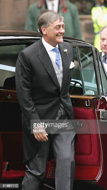 Father of the bride Duke of Westminster attends the wedding of Ed Van Cutsem and Lady Tamara Grosvenor at Chester Cathedral on November 6 2004 in...