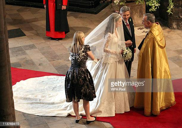 Father of the bride Michael Middleton prepares to lead his daughter Miss Catherine Middleton down the aisle to be wed to Prince William during their...