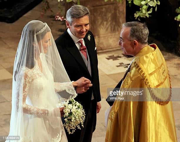 Father of the bride Michael Middleton prepares to lead his daughter Catherine down the aisle to be wed to Prince William during their wedding at...