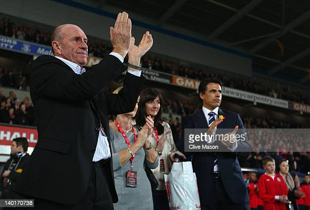 Father of the late Gary Speed Roger Speed applaud during the Gary Speed Memorial International Match between Wales and Costa Rica at the Cardiff City...