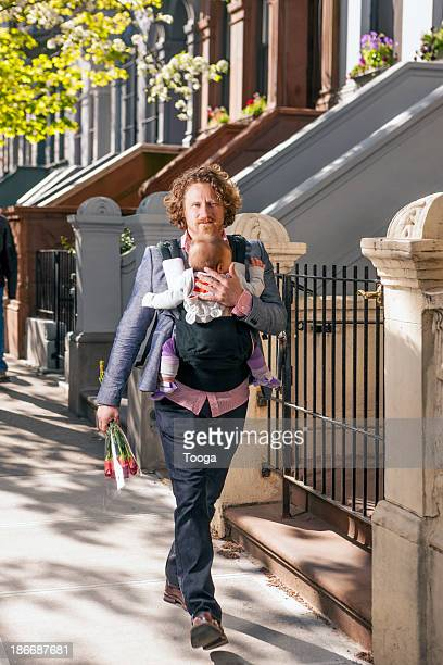 Father on the go to meet wife for a date