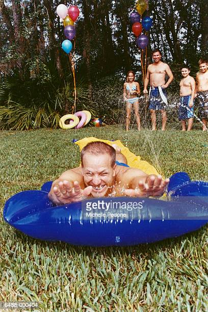 Father on Water Slide