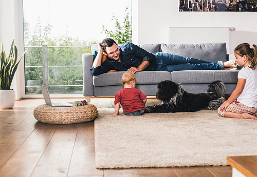 Father playing with his kids at home - gettyimageskorea