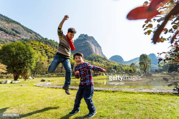 Father playing with his son outdoor
