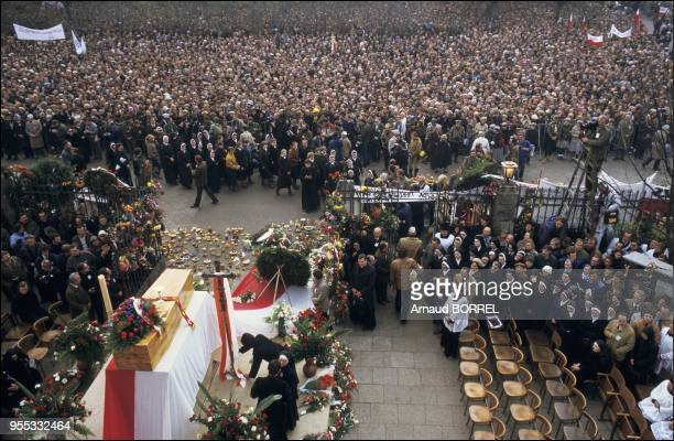 Father Popieluszko the Vicar of Solidarnosc was abducted and killed by employees of the polish interior ministry Thousands came to mourn him