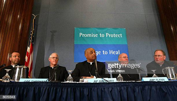 Father Ronald D Witherup Archbishop Michael J Sheehan Bishop Wilton Gregory president of the US Conference of Catholic Bishops Archbishop Harry J...