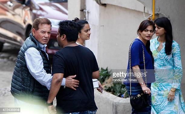 Father Salim Khan and sister Alvira Khan arrives to meet Bollywood actor Salman Khan at his residence a day after verdict in hit and run case on May...