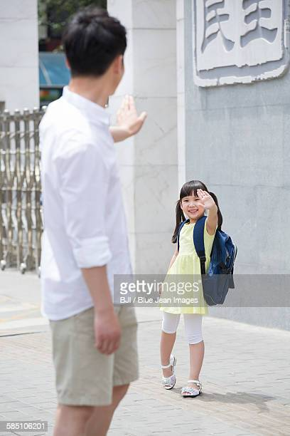 father sending daughter to school - first day of summer stock pictures, royalty-free photos & images