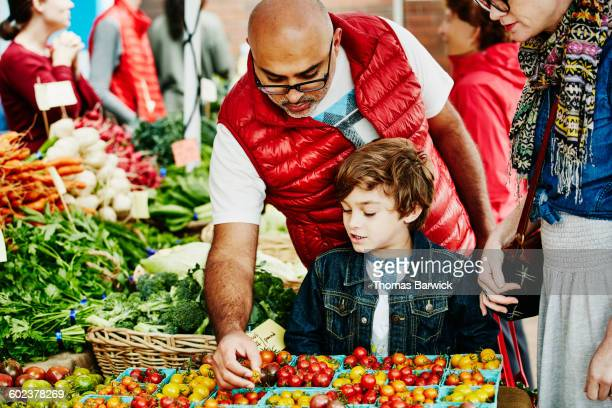 Father showing son tomatoes at farmers market