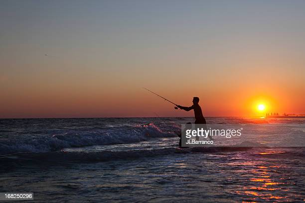 Father & Son Surf Fishing at Sunset