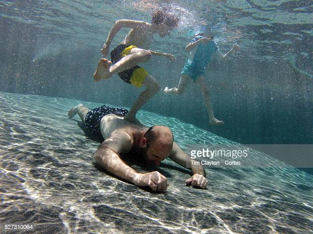 A father swimming underwater while playing with his son and daughter in his back yard family swimming pool Connecticut USA Photo Tim Clayton