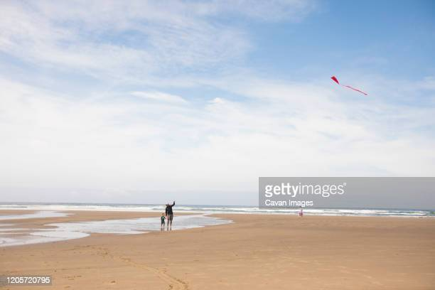 father teaching son how to fly a kite at the beach. - manzanita stock pictures, royalty-free photos & images