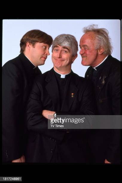 Father Ted actors Ardal O'Hanlon, Dermot Morgan and Frank Kelly in character as Fathers Dougal, Ted and Jack, circa 1998.