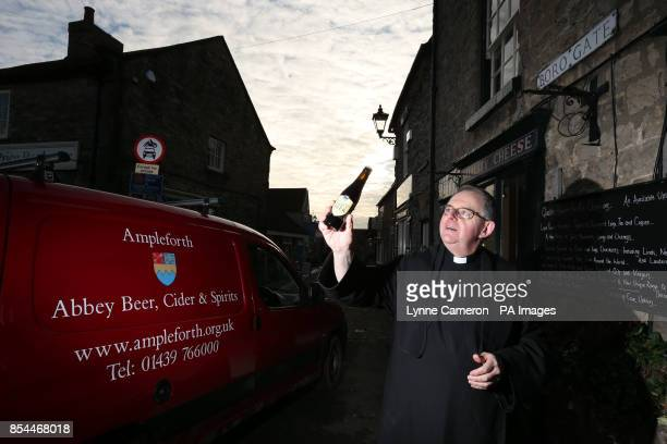 Father Terence Richardson Prior of Ampleforth Abbey and College makes a special delivery of the Ampleforth Abbey Beer as the Abbey revealed it is...