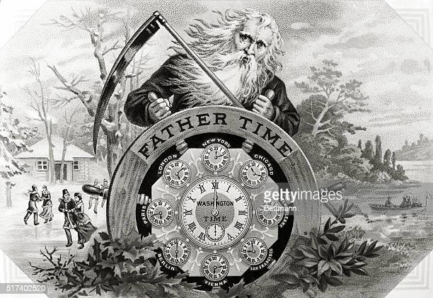 Father Time Symbolical drawing shows a man with the scythe leaning over pilot wheel Undated colored lithograph