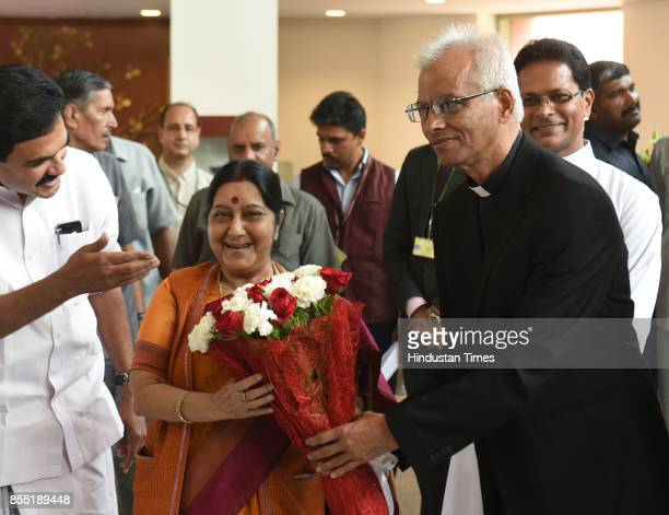Father Tom Uzhunnalil a Vatican priest from Kerala who was kidnapped in Yemen last year has been rescued greets the Foreign Minister Sushma Swaraj at...