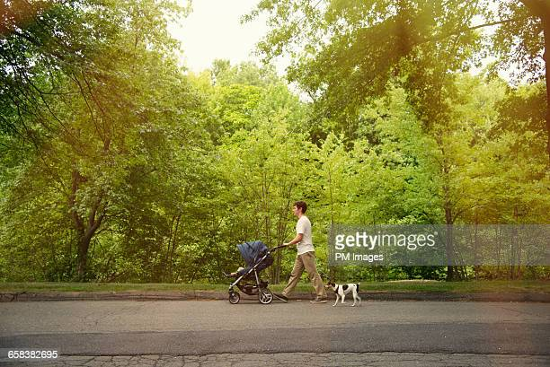 father walking with baby and dog - baby stroller stock pictures, royalty-free photos & images