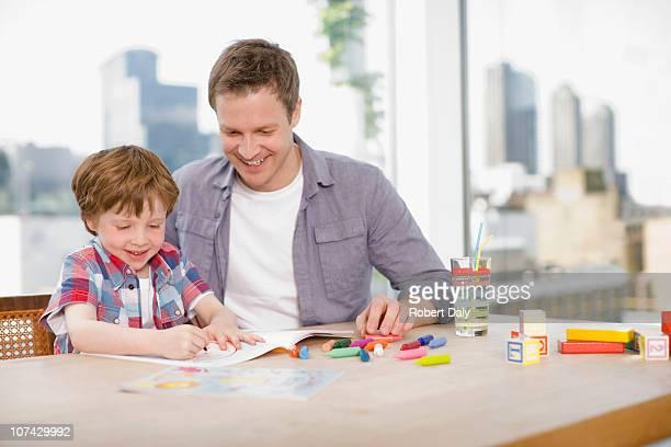 父と息子のカラー眺め