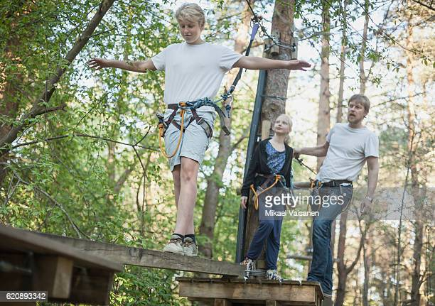 Father with 2 children on canopy tour
