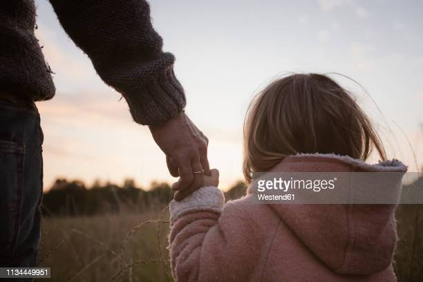 father with daughter standing at a field at sunrise - vertrauen stock-fotos und bilder
