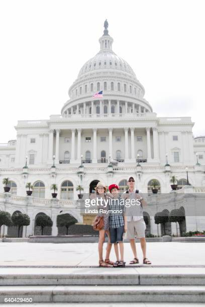 Father with his son and daughter in front of the Capitol in Washington dc