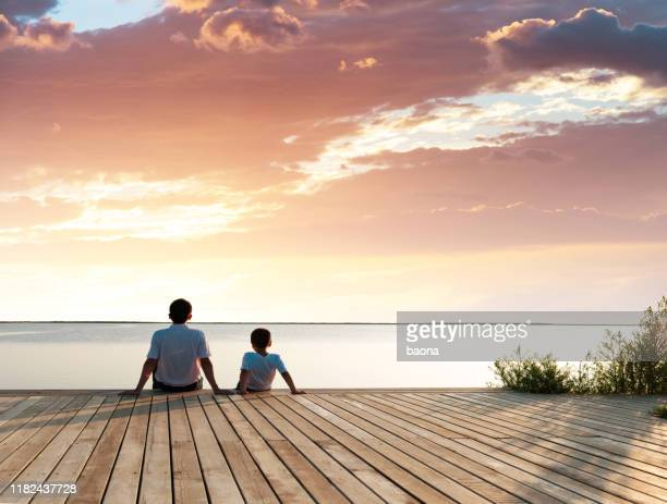 père avec son fils appréciant la vue de lac - rivage photos et images de collection