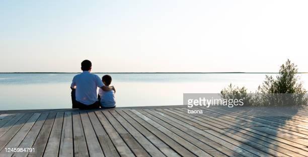 père avec son fils appréciant la vue de lac - ponton photos et images de collection