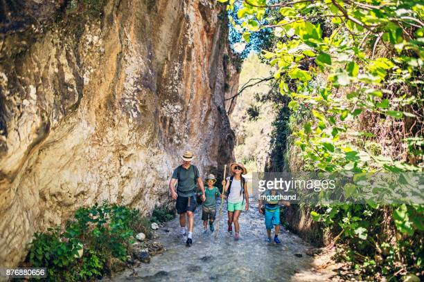 father with  kids hiking in andalusia - andalucia stock pictures, royalty-free photos & images