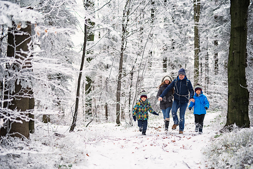 Father with kids running in beautiful winter forest 629724766