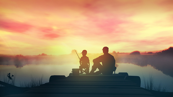 Father with son in the morning fishing from a wooden pier 1168536949