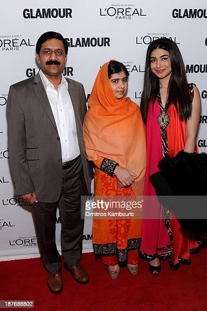 Father Ziauddin Yousafzai and Malala Yousafzai attend Glamour's 23rd annual Women of the Year awards on November 11 2013 in New York City