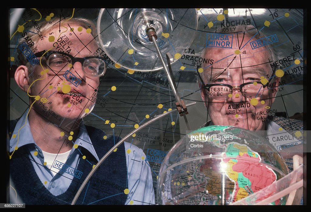 Scientists Looking Through a Star Dome : News Photo