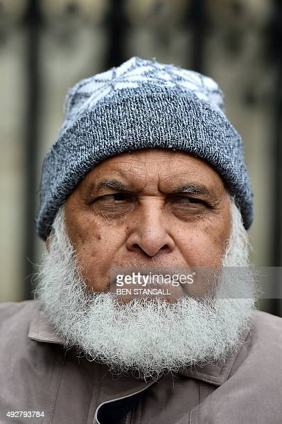 Father-in-law of Guantanamo Bay detainee Shaker Aamer, Saaed Siddique, attends a rally in central London, on October 15, 2015 launching 'Fast For...