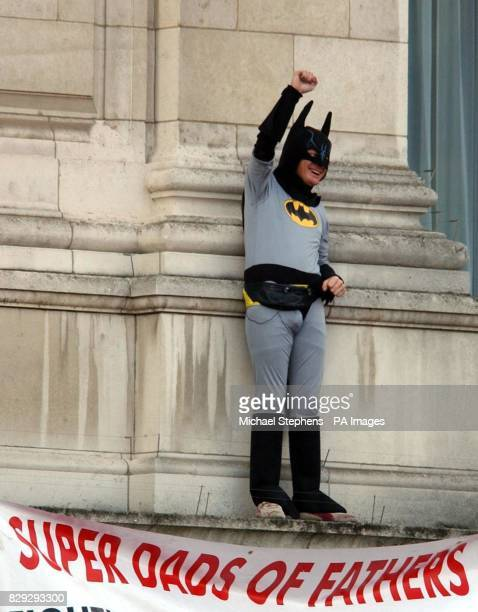 Fathers 4 Justice campaigner dressed as Batman on a balcony of Buckingham Palace after breaching security. Jason Hatch from Gloucester, managed to...