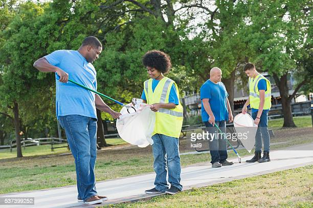 Fathers and sons doing community service project together