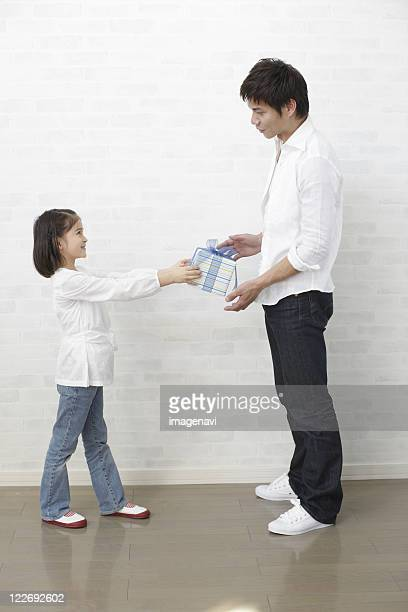 father's day - little girl giving head stock photos and pictures