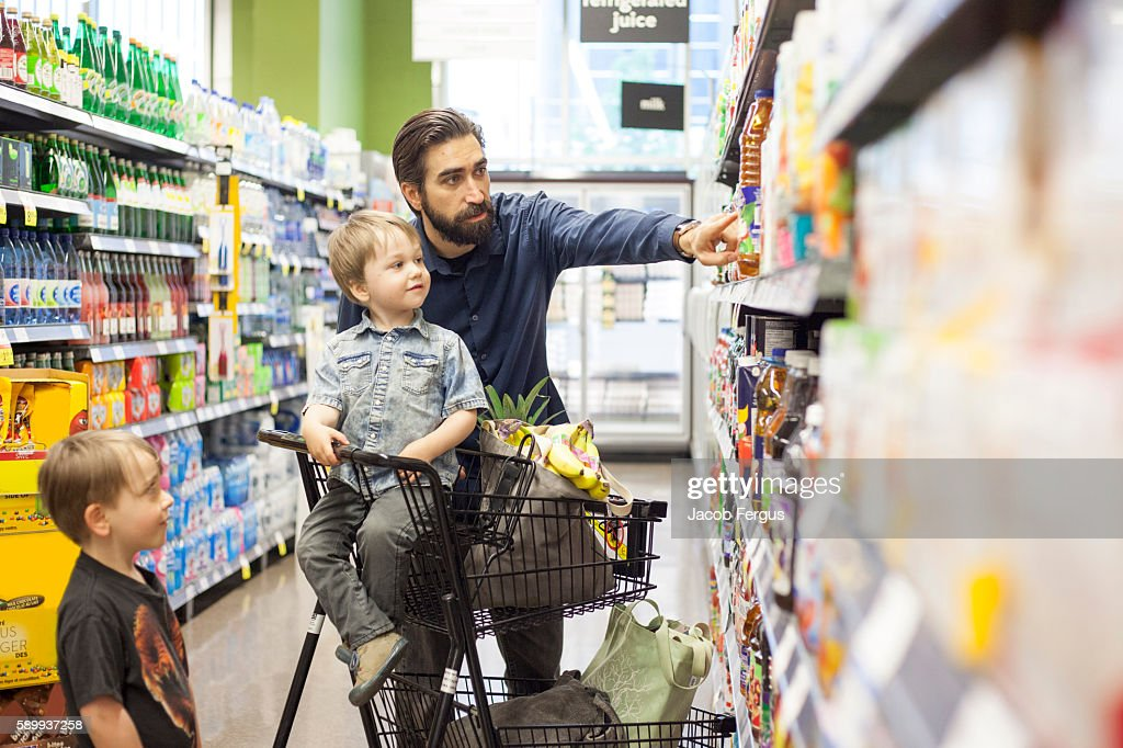 Fathers Grocery Shopping : Stock Photo