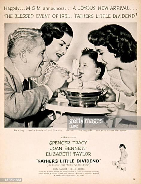 Father's Little Dividend poster Spencer Tracy Joan Bennett Elizabeth Taylor 1951