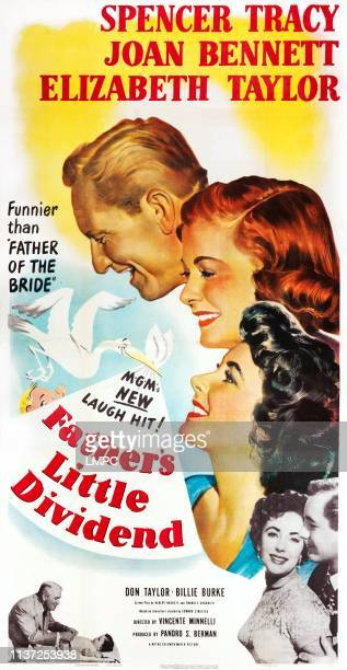 Father's Little Dividend poster US poster art top from left Spencer Tracy Joan Bennett Elizabeth Taylor bottom from left Spencer Tracy Elizabeth...