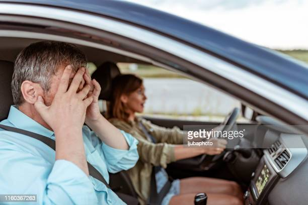 father's worst nightmare driving daughter crashing car - front passenger seat stock photos and pictures