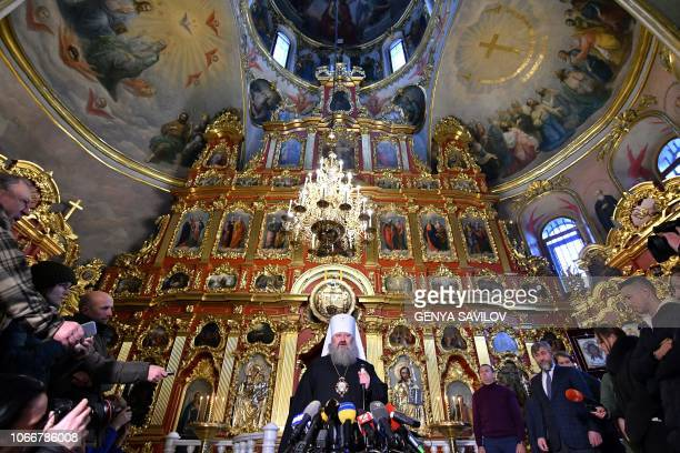Fathersuperior of the KievPechersk Lavra monastery Metropolitan Pavel speaks to the press during a statement in the monastery in Kiev on November 30...