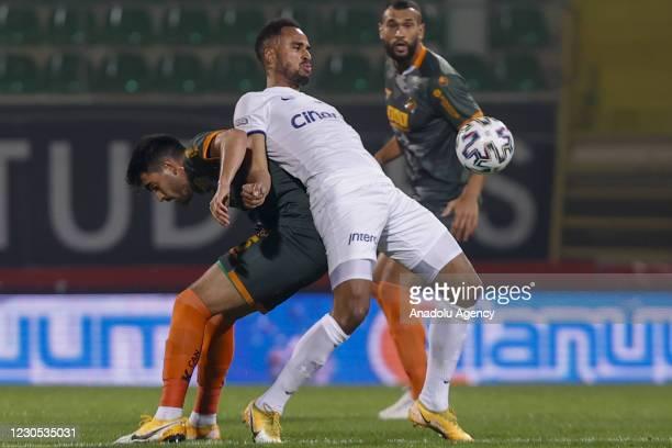Fatih Aksoy of Aytemiz Alanyaspor in action against Isaac Kiese Thelin of Kasimpasa during Turkish Super Lig week 18 soccer match between Aytemiz...