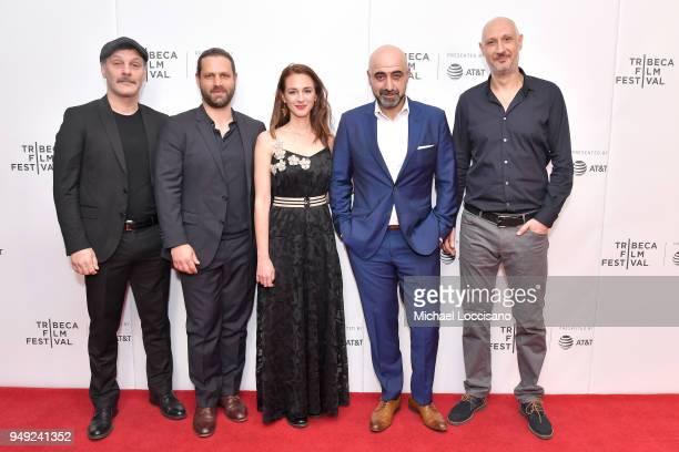 Fatih Al Adam Bousdoukos Viky Papadopoulou Ozgur Karadeniz and Marios Piperides attend the screening of 'Smuggling Hendrix' during the Tribeca Film...