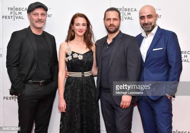 Fatih Al Viky Papadopoulou Adam Bousdoukos and Ozgur Karadeniz attend the screening of 'Smuggling Hendrix' during the Tribeca Film Festival at...