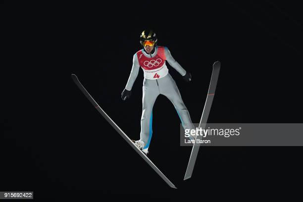 Fatih Arda Ipcioglu of Turkey competes during Men's Normal Hill Individual Trial Round for Qualification at Alpensia Ski Jumping Centre on February 8...