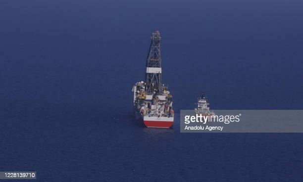 Fatih Drill ship is seen at sea after the President of Turkey Recep Tayyip Erdogan announced the discovery of major natural gas reserves in the Black...